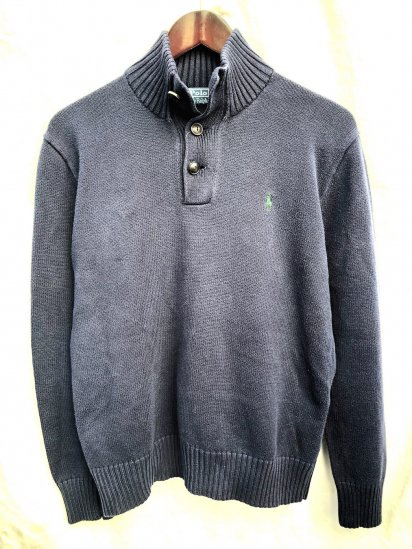 Old Ralph Lauren Button Neck Cotton Sweater Navy × Green / 4