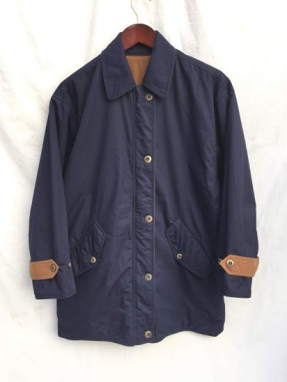 90's Vintage Aquascutum Reversible Half Coat Made in Italy Navy x Camel