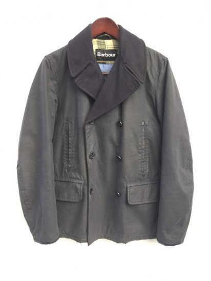 USED Barbour x Joe Casely Hayford for John Lewis Waxed Cotton Pea Coat Made in UK Navy