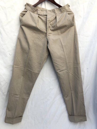 60's Vintage Unknown Pleated Front Gaberdine Trousers / 2