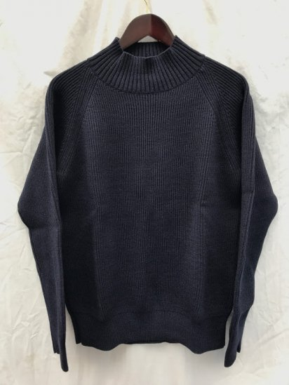 Vincent et Mireille 8GG AZE Knit Mock Neck Sweater Navy