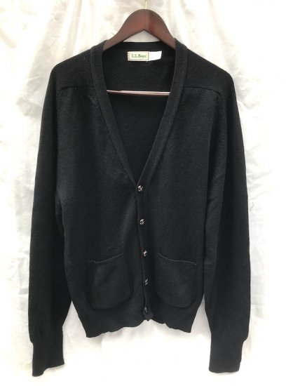 80's Vintage L.L.BEAN Cardigan MADE IN SCOTLAND Black