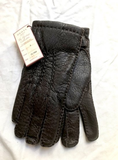 DENTS Peccary Leather x Cashmere Lining Glove Made in England Brown