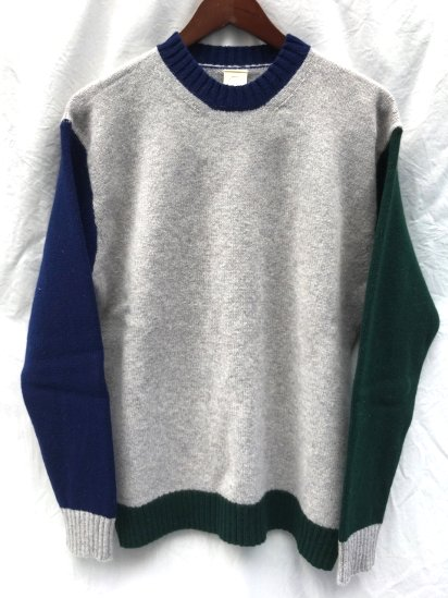 Country of Origin Tricolour Crew Neck Made in ENGLAND<BR>SALE!! ¥23,000+Tax⇒¥19,800+Tax