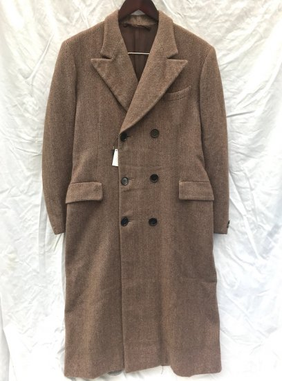 40's Vintage Wool Double Breasted Coat Brown