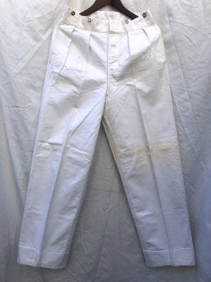 40's ~ 50's Vintage Royal Navy White Canvas Trousers Made by Gieves White / 1