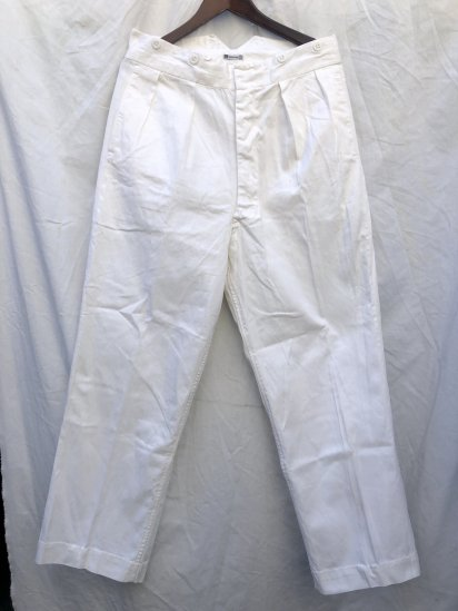 50's Vintage Royal Navy White Drill Trousers Made by Gieves White / 4