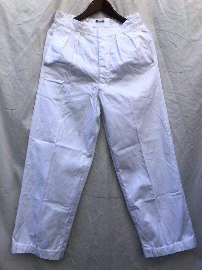 50's Vintage Royal Navy White Drill Trousers Made by Gieves White / 5