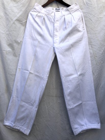 50's Vintage Royal Navy White Drill Trousers Made by Gieves White / 6