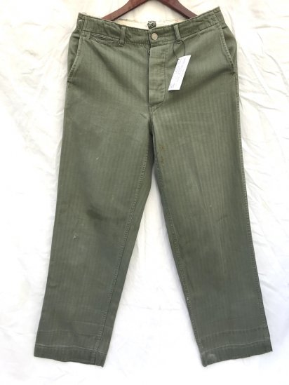 40's Vintage U.S ARMY M-41 HBT Trousers With 13star Metal Button Olive