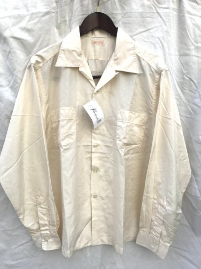 50's Vintage Dead Stock All Silk Open Collar Shirts Pearl / 1