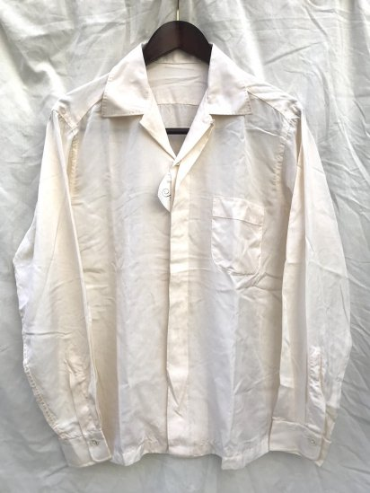 50's Vintage Dead Stock All Silk Open Collar Shirts Pearl / 2