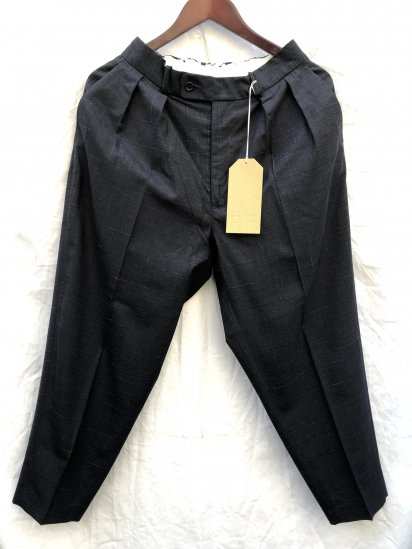 """RICHFIELD """"E-5"""" Wool Wide Tapered Trousers Made in JAPAN Charcoal Glencheck"""
