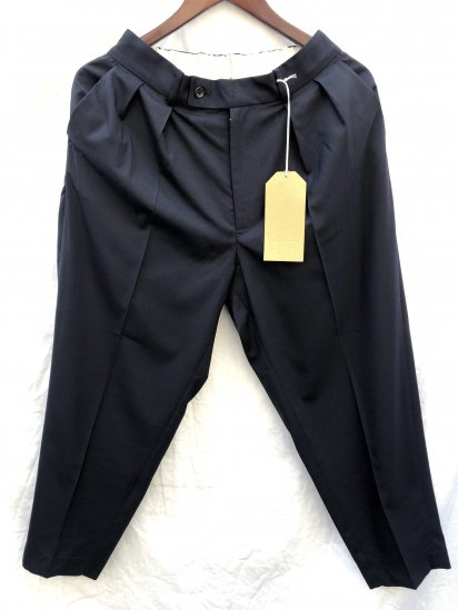 """RICHFIELD """"E-5"""" Wool Wide Tapered Trousers Made in JAPAN Navy"""
