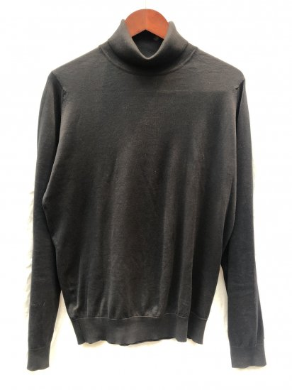 JOHN SMEDLEY Sea Island Cotton Knit HAWLEY ROLL NECK PULLOVER MADE IN ENGLAND Black