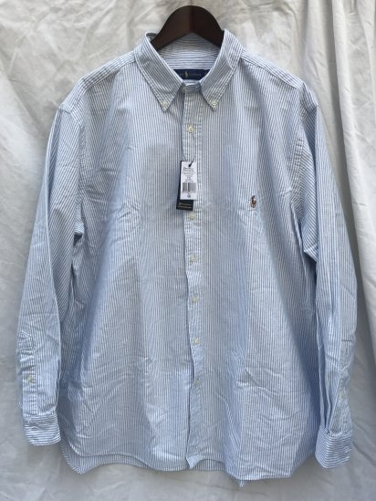 "Ralph Lauren Oxford Button Down Shirt ""XB size"" Big Shirts Sax Candy Stripe"