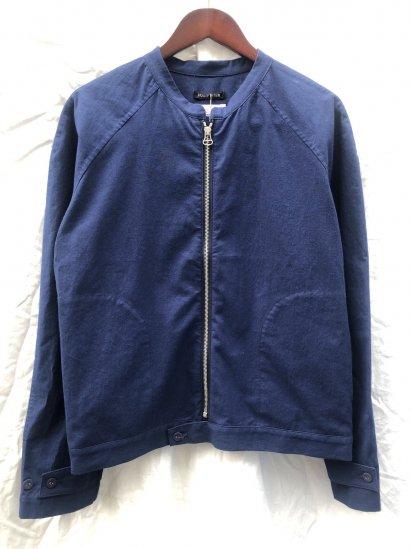 2020 S/S Frank Leder No Collar Short Zip Blouson Made in Germany Navy