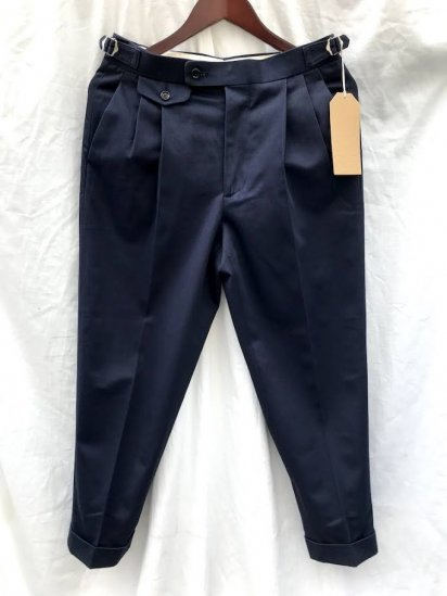 Richfield Made in Japan Superior Pima Cotton Chino 2 TUCK TAPERD TROUSERS C-3 Navy