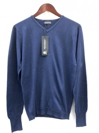 John Smedley Sea Island Cotton Sweater V neck Made in England