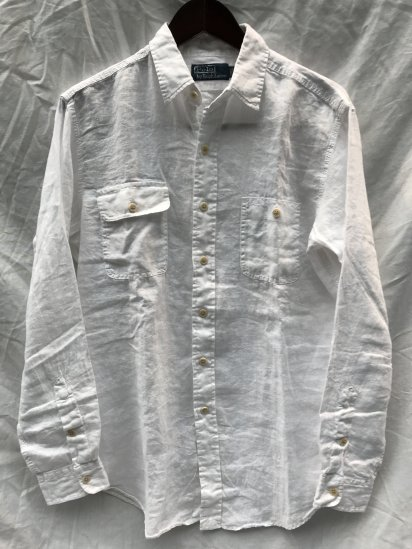 90-00's USED Ralph Lauren L/S Linen Work Shirts / 5