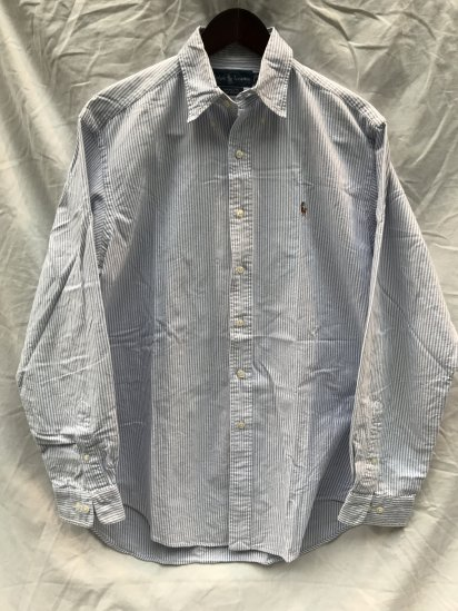 90-00's USED Ralph Lauren Candy Stripe OX BD Shirts / 6