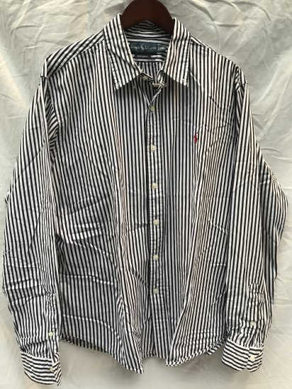 90-00's USED Ralph Lauren London Stripe OX BD Shirts / 8