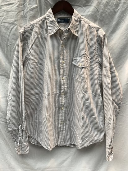 90-00's USED Ralph Lauren Pin Stripe OX BD Shirts / 9