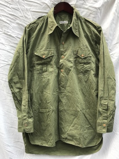 40-50's Vintage Italian Army Poplin Pull Over Shirts