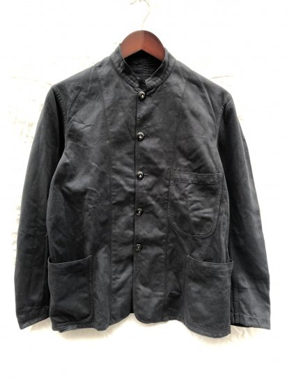 40's ~ Vintage British Work Stand Collar Jacket Black Over Dyed
