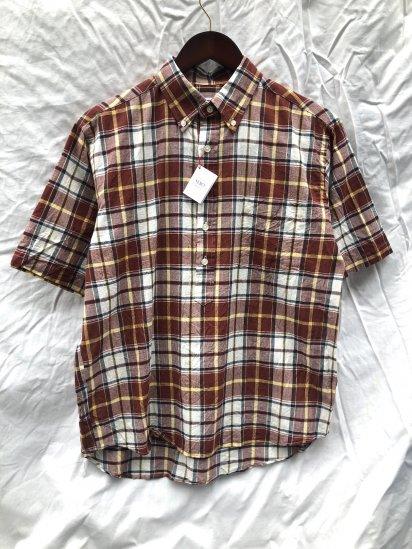 SERO Button Down Pullover Short Sleeve Shirts Brown Madras Check SALE!! 9,000 → 7,800 + Tax