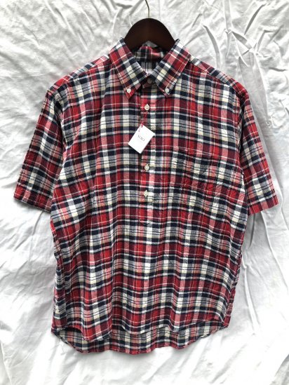 SERO Button Down Pullover Short Sleeve Shirts Red Madras Check SALE!! 9,000 → 7,800 + Tax