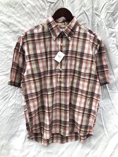 SERO Button Down Pullover Short Sleeve Shirts Orange Madras Check SALE!! 9,000 → 7,800 + Tax