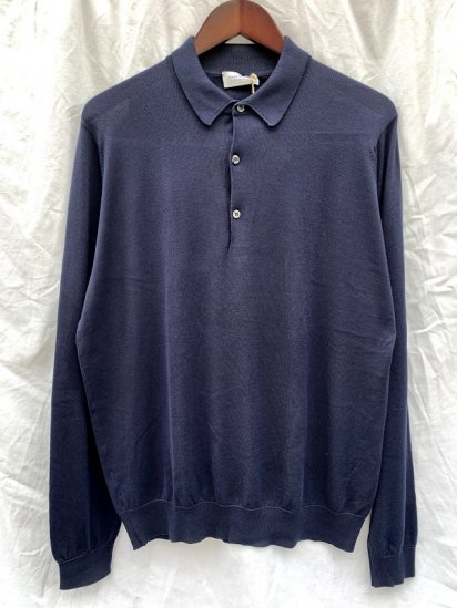 John Smedley Sea Island Cotton Knit 30G Long Sleeve Polo Shirts