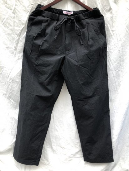 2020 S/S FRANK LEDER Triple Washed Thin Cotton Drawstring Trousers Made in Germany Black