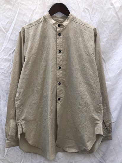 2020 S/S FRANK LEDER Triple Wased Thin Cotton Stand Collar Shirts Made in Germany Sand