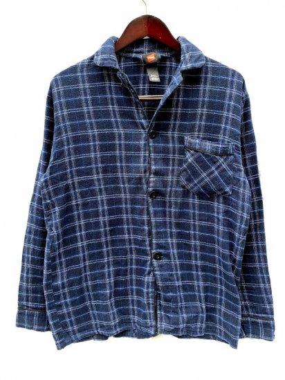 90s∼00s Hanes Cotton Flannnel Pajama Shirts Navy Check