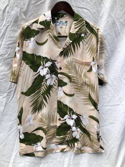 TWO PALMS Short Sleeve Hawaiian Shirts Made in Hawaii Beige x Green