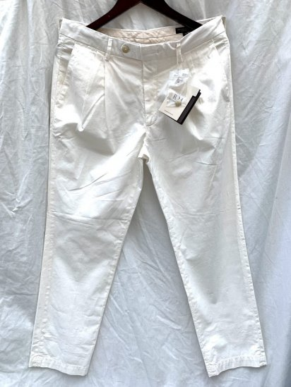 RICCARDO METHA Garment Dye & Wash Poplin 2 Tuck Tapered Trousers Made in Italy White