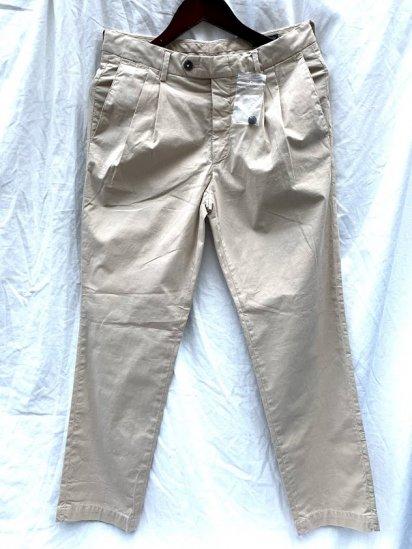 RICCARDO METHA Garment Dye & Wash Poplin 2 Tuck Trousers Made in Italy SALE!! 18,000 → 13,500 + Tax