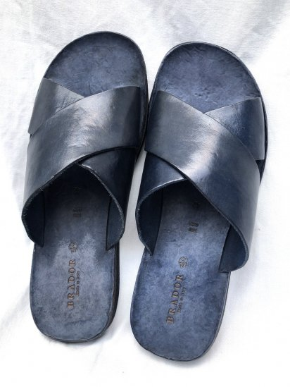 BRADOR Leather Sandal Made in Italy Navy<BR>SALE!! \16,000 → \12,800 +tax
