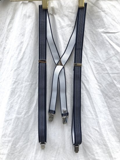 La Ducale Braces Made in Italy Navy x White