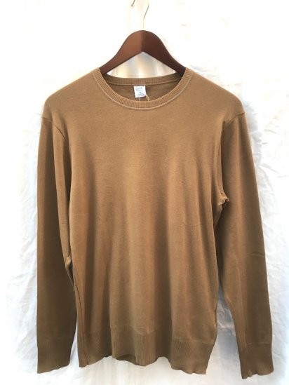 Gicipi Cotton Knit Crew Neck Made in Italy Camel<BR>SALE!! 5,300 ⇒ 3,710 +Tax
