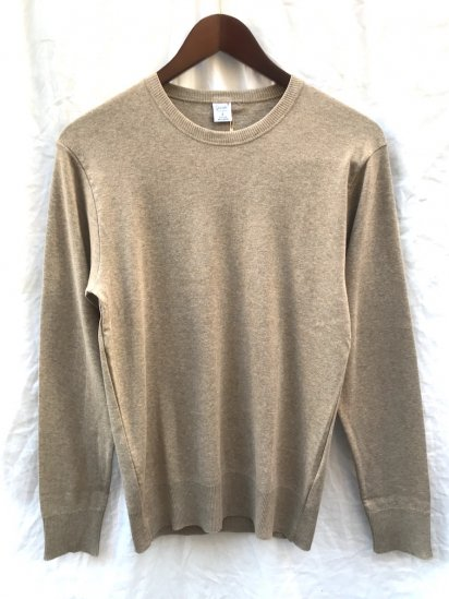 Gicipi Cotton Knit Crew Neck Made in Italy Beige