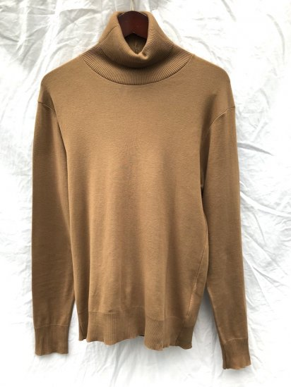 Gicipi Cotton Knit Turtle Neck Made in Italy Camel<BR>SALE!! 6,300 ⇒ 4,410 +Tax