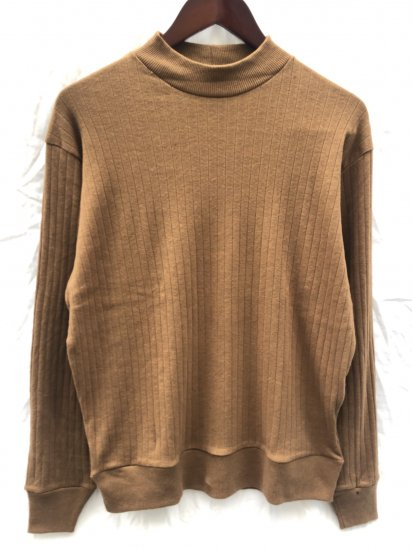Gicipi made in Italy Cotton x Cashmere Mock Neck Rib Sweater Camel