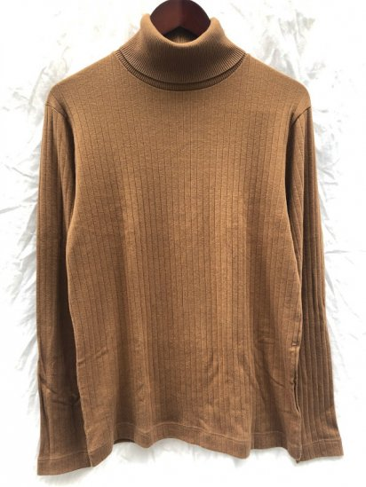 Gicipi made in Italy Cotton x Cashmere Turtle Neck Rib Sweater Camel SALE!! 8,800 ⇒ 6,160 + Tax