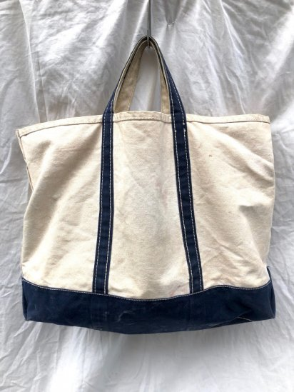 80-90's Vintage L.L.Bean Boat & Tote Made in U.S.A Navy×Natural