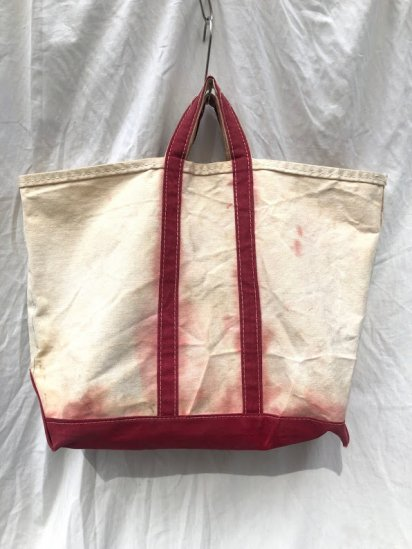 70-80's Vintage L.L.Bean Boat & Tote Made in USA Red×Natural