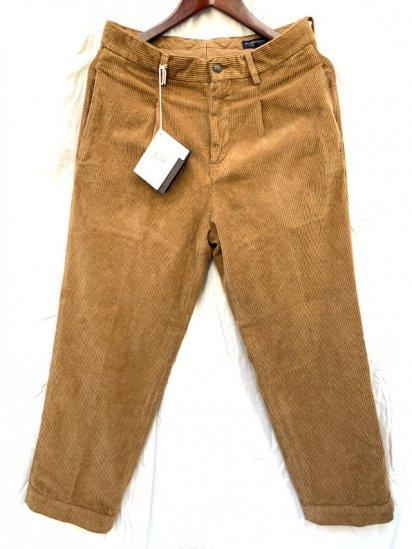 RICCARDO METHA Corduroy 1Tcuk Trousers Made in Italy Khaki