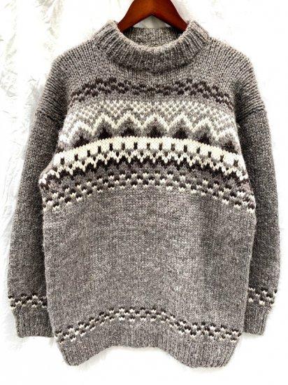 70-80's Vintage Nordic Mock Neck Wool Sweater